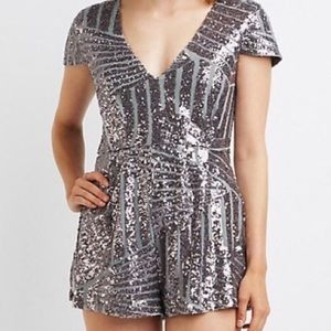 Brand New Silver/Grey Sequins Romper